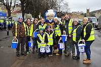 Bath Rugby mascot Maximus with Foundation bucket collectors prior to the match. Aviva Premiership match, between Bath Rugby and Wasps on February 20, 2016 at the Recreation Ground in Bath, England. Photo by: Patrick Khachfe / Onside Images