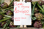 Artichoke hearts with a sign in Italian