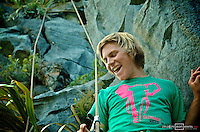 Florian Herla, Elephant slacklines ambassador, rejoicing of hapiness after his successful first ascent of the line. New Zealand.