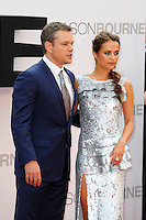 LONDON, ENGLAND - JULY 11: Matt Damon and Alicia Vikander attending the 'Jason Bourne' European Premiere at Odeon Cinema, Leicester Square on July 11, 2016 in London, England.<br /> CAP/MAR<br /> &copy;MAR/Capital Pictures /MediaPunch ***NORTH AND SOUTH AMERICAS ONLY***