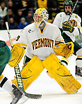 12 December 2009: University of Vermont Catamount goaltender Rob Madore, a Sophomore from Venetia, PA, in action against the St. Lawrence University Saints at Gutterson Fieldhouse in Burlington, Vermont. Madore made 21 saves to earn his second career shutout as the Catamounts defeated their former ECAC rival Saints 3-0. Mandatory Credit: Ed Wolfstein Photo