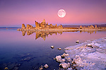 Full moon over tufa at dusk along the south shore of Mono Lake, Mono Basin National Scenic Area, California USA