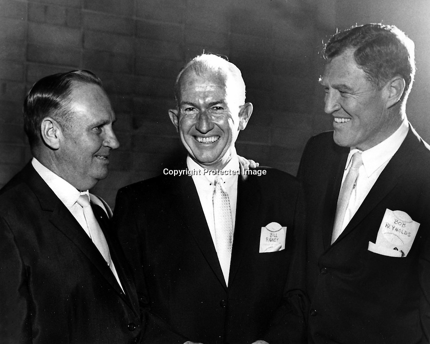 Attending Sports banquet Angels owner Gene Autry, manager Bill Rigney, and Bob Reynolds. (1963 photo/Ron Riesterer)