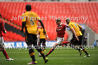Wrexham attack the Newport Country defence during the Newport County v Wrexham Blue Sq. Bet Premier league playoff final at Wembley Stadium, London, England Sunday 5th May 2013. Credit for pictures to Jeff Thomas Photography - www.jaypics.photoshelter.com - 07837 386244 - Use of images are restricted without prior permission of the copyright owner Jeff Thomas Photography.