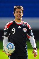 Juan Pablo Angel (9) of the New York Red Bulls during a practice at Red Bull Arena in Harrison, NJ, on March 16, 2010.