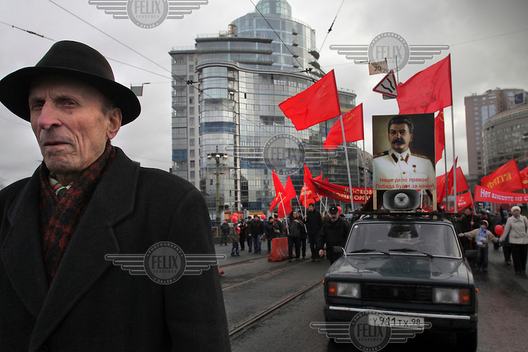 A communist demonstration to mark the anniversary of the October Revolution