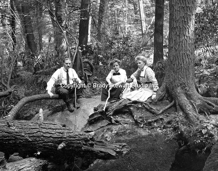 Fayette County PA:  Family photograph at Bear Run (Homer, Helen and Alice Brady Stewart) - 1915