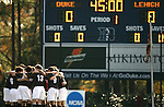 Lehigh's starters huddle up below the scoreboard before the start of the game on Sunday, November 19th, 2006 at Koskinen Stadium in Durham, North Carolina. The Duke Blue Devils defeated the Lehigh University Mountain Hawks 3-0 in an NCAA Division I Men's Soccer Championship third round game.