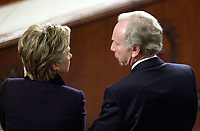 Washington, DC - January 28, 2003 -- U.S. Senators Hillary Rodham Clinton (D-New York)and Joe Lieberman (D-Connecticut) share some thoughts as U.S. President George W. Bush delivers his State of the Union Address to a Joint Session of the U.S. Congress.<br /> Credit: Ron Sachs / CNP/MediaPunch