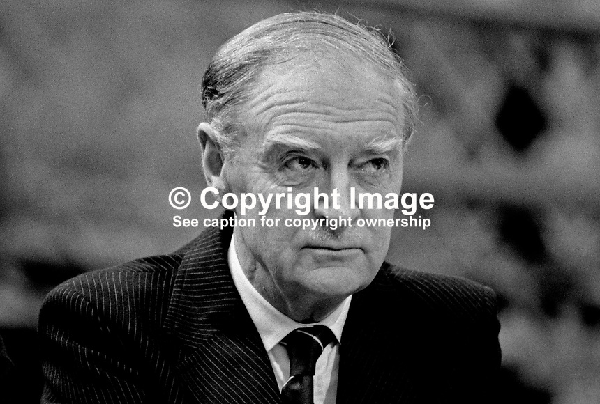 Liam Cosgrave, TD, former leader, Fine Gael, at his party's Ard Fheis in Dublin. 198103000058LC7..Copyright Image from Victor Patterson, 54 Dorchester Park, Belfast, United Kingdom, UK...For my Terms and Conditions of Use go to http://www.victorpatterson.com/Victor_Patterson/Terms_%26_Conditions.html