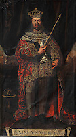 Portrait of King Manuel I or Emmanuel I, known as the Manuel the Fortunate or Manuel o Afortunado, 1469-1521, 14th King of Portugal, 1495, in the Great Room of Acts, or Sala dos Capelos, or Red Room, decorated in the 17th century by master builder Antonio Tavares and reworked in the 18th century, at the University of Coimbra in the royal palace or Paco Real, Coimbra, Portugal. The University of Coimbra was first founded in 1290 and moved to Coimbra in 1308 and to the royal palace in 1537. The buildings are listed as a historic monument and a UNESCO World Heritage Site. Picture by Manuel Cohen