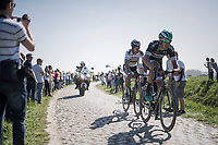 World Champion Peter Sagan (SVK/Bora-Hansgrohe) is piloted to the 2 race leaders by teammate Maciej Bodnar (POL/Bora-Hansgrohe)<br /> <br /> 115th Paris-Roubaix 2017 (1.UWT)<br /> One Day Race: Compi&egrave;gne &rsaquo; Roubaix (257km)