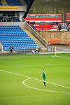 Oxford United 1 Accrington Stanley 2, 20/02/2016. Kassam Stadium, League Two. Oxford's home ground is the Kassam Stadium in Oxford and has a capacity of 12,500. United moved to the stadium in 2001 after leaving the Manor Ground, their home for 76 years. Benjamin Büchel (Oxford United) goalkeeper. View from the North Stand. Photo by Simon Gill.