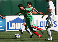 Alberto Medina (7) tries to maintain possession of the ball. Mexico defeated Nicaragua 2-0 during the First Round of the 2009 CONCACAF Gold Cup at the Oakland, Coliseum in Oakland, California on July 5, 2009.