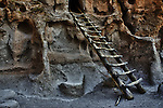 Ladder at cliff dwellings on Ruins Trail at Bandelier National Monument.