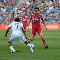 Chicago defender Dan Gargan (3) prepares to take on Toronto forward Joao Plata (7).  The Chicago Fire defeated Toronto FC 2-0 at Toyota Park in Bridgeview, IL on August 21, 2011.