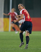 Norwegian defender (7) Trine Ronning celebrates a goal during first round play for the 2008 Beijing Olympics in Qinhuangdao, China. .  The US lost to Norway, 2-0, at Qinhuangdao Stadium.