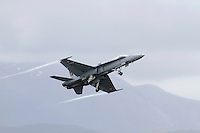 Swiss F-18 Hornet taking off during Tiger Air show.  Nato Tiger Meet is an annual gathering of squadrons using the tiger as their mascot. While originally mostly a social event it is now a full military exercise. Tiger Meet 2012 was held at the Norwegian air base &Oslash;rlandet.