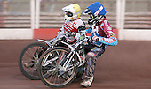 Richie Worrall (blue) and Robin Aspegren (yellow) - Lakeside Hammers vs Swindon Robins at the Arena Essex Raceway, Pufleet - 18/06/12 - MANDATORY CREDIT: Rob Newell/TGSPHOTO - Self billing applies where appropriate - 0845 094 6026 - contact@tgsphoto.co.uk - NO UNPAID USE..
