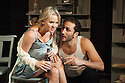 "London, UK. 26.06.2012. ""Chicken"", starring Lisa Maxwell and Craig Kelly opens at the Trafalgar Studios. Picture shows:  Lisa Maxwell and George Georgiou. Photo credit: Jane Hobson."