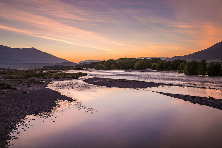 Sunrise,Ahuriri River, South Canterbury, New Zealand - stock photo, canvas, fine art print