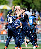 17.02.2015. Dunedin, New Zealand.  Richie Berrington celebrates with team mate after the wicket of Grant Elliott during the ICC Cricket World Cup match between New Zealand and Scotland at university oval in Dunedin, New Zealand.