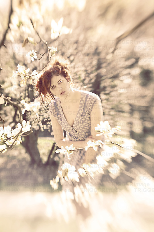 A beautiful red haired woman in a blue dress leans forward, surrounded in cherry blossoms.