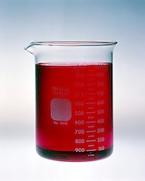 pH COMPARISON OF BUFFERED &amp; UNBUFFERED SOLUTION<br /> (1 of 4)<br /> Unbuffered Solution With Methyl Red Indicator<br /> Unbuffered solution of 1.8x10 -5M hydrochloric acid, pH 4.74, with methyl red indicator. Indicator is red.