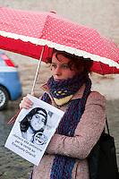 Roma 18 Dicembre 2011.Caso Orlandi..Corteo silenzioso da Castel Sant'Angelo a piazza San Pietro con l'intenzione di ricordare la petizione lanciata a Benedetto XVI per fare luce sul rapimento di Emanuela Orlandi scomparsa 28 anni fa, appello che ha raggiunto 40 mila adesioni.La manifestazione è stata organizzata da Pietro Orlandi fratello di Emanuela .