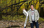 St. Louis Blues goalie prospect poses for a magazine portrait on October 28, 2013 in a forest near Chicago, IL. (Photograph © Ross Dettman)