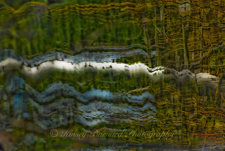 &quot;LAY ME DOWN&quot;<br /> <br /> The reflection of a birch tree trunk wavers in cool dark waters. The water looking like an impressionist painting. Another great example of Nature's artistry on water. Abstract photograph. This photograph was shot as a vertical landscape. I took the liberty of laying it down. ORIGINAL 24 X 36 GALLERY WRAPPED CANVAS SIGNED BY THE ARTIST $2,500. CONTACT FOR AVAILABILITY.
