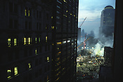 The smouldering remains of the World Trade Centre complex in lower Manhattan, destroyed on September 11th 2001 by AL-Qaeda terrorists. New York, America.