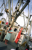 Lara Mulvaney brushes her hair after showering on the salmon seiner F/V Dakota in kodiak, AK during the summer of 1990