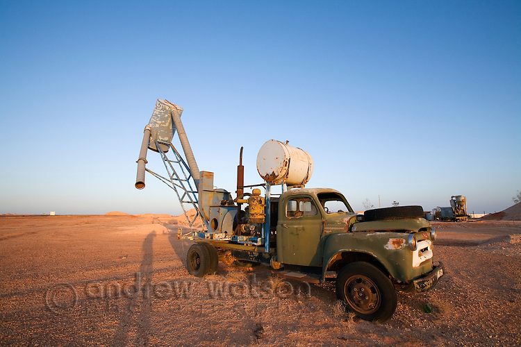 A blower truck, used to extract dirt in underground opal mining operations.  Coober Pedy, South Australia, AUSTRALIA.