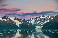 Cataract and Surprise glacier at sunrise, Harriman Fjord, Chugach Mountains, Chugach National Forest, Alaska.