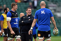 Bath Rugby First team coach Toby Booth has a laugh during the pre-match warm-up. West Country Challenge Cup match, between Bath Rugby and Exeter Chiefs on October 10, 2015 at the Recreation Ground in Bath, England. Photo by: Patrick Khachfe / Onside Images