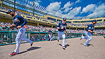 14 March 2016: Members of the Atlanta Braves take the field to start a Spring Training pre-season game against the Tampa Bay Rays at Champion Stadium in the ESPN Wide World of Sports Complex in Kissimmee, Florida. The Braves shut out the Rays 5-0 in Grapefruit League play. Mandatory Credit: Ed Wolfstein Photo *** RAW (NEF) Image File Available ***
