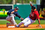 2 March 2009: Houston Astros' left fielder Carlos Lee slides safely into second ahead of the tag by New York Yankees' shortstop Cody Ransom during a Spring Training game at Osceola County Stadium in Kissimmee, Florida. The teams played to a 5-5, 9-inning tie. Mandatory Photo Credit: Ed Wolfstein Photo