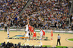 31 MAR 2012:  Jeff Whithey (5) of University of Kansas tips off against Jared Sullinger (0) of the Ohio State University during the Semifinal Game of the 2012 NCAA Men's Division I Basketball Championship Final Four held at the Mercedes-Benz Superdome hosted by Tulane University in New Orleans, LA. Kansas defeated Ohio State 64-62 to advance to the national final. Brett Wilhelm/ NCAA Photos