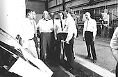 Five of the seven original astronauts are seen with Dr. Wernher von Braun inspecting the Mercury-Redstone hardware in the Fabrication Laboratory of Army Ballistic Missile Agency (ABMA) in Huntsville, Alabama in 1959. Left to right: Astronauts Walter Schirra, Alan Shepard, John Glenn, Scott Carpenter, Gordon Cooper, and Dr. von Braun..Credit: NASA via CNP