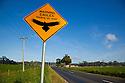 Eagles on road warning sign. Tasmania. Australia.