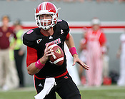 NC State quarterback Mike Glennon completed 20 of 36 passes for 244 yards and four touchdowns. NC State defeated Central Michigan 38-24 on Saturday, October 8, 2011 at Carter-Finley Stadium in Raleigh. Photo by Al Drago.