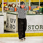 13 November 2015: NCAA Official Patrick Silva indicates no goal in the third period after a video review during a game between the Providence College Friars and the University of Vermont Catamounts at Gutterson Fieldhouse in Burlington, Vermont. The Lady Friars defeated the Lady Cats 4-1 in Hockey East play. Mandatory Credit: Ed Wolfstein Photo *** RAW (NEF) Image File Available ***