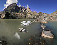 Miage is a small glacial lake placed at the feet of the Monte Bianco range, and at the lower end of the Miage glacier, one of the many huge glaciers of the massif, and the biggest one in Italian territory. Dome the Miage, Aguille Blanche and Noire de Peteury, and Dames Anglaises are some of the peaks lying in the background.