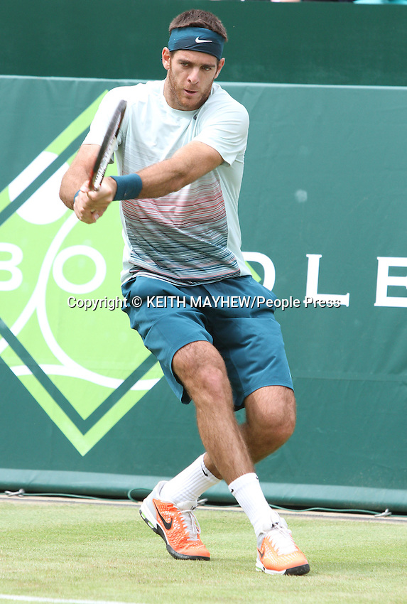 Juan Martin Del Potro (Argentina) plays Richard Gasquet (France) at The Boodles Tennis Challenge held at Stoke Park, Buckinghamshire, UK - June 21st 2013<br /> <br /> Photo by Keith Mayhew
