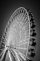 Black and white photo of Chicago Navy Pier Ferris Wheel. Navy Pier and the Ferris Wheel are one of the most popular attractions in downtown Chicago.
