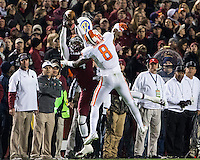 The tenth ranked South Carolina Gamecocks host the 6th ranked Clemson Tigers at Williams-Brice Stadium in Columbia, South Carolina.  USC won 31-17 for their fifth straight win over Clemson.  South Carolina Gamecocks wide receiver Shaq Roland (4) catches the ball over Clemson Tigers cornerback Darius Robinson (8)