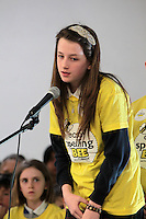 NO FEE PICTURES.8/3/12 Abbie Nulty Haunaghan, Scoil Chronain, Rathcoole, taking part in the Dublin County final, part of the overall Eason 2012 Spelling Bee, held at St Olaf's NS, Dundrum. .For further details visit www.easons.com/spellingbee and stay tuned to RTE 2fm. Picture:Arthur Carron/Collins