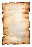 Stock photo of a Vintage rustic yellowish parchment paper with burnt edges Isolated silhouette on white background