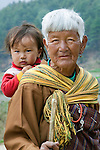 Portrait of an elder and child, Paro Valley, Bhutan